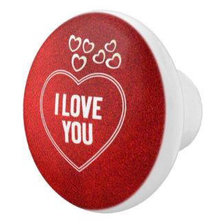 lovely Hearts red Ceramic Knob