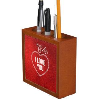 lovely Hearts red Desk Organiser