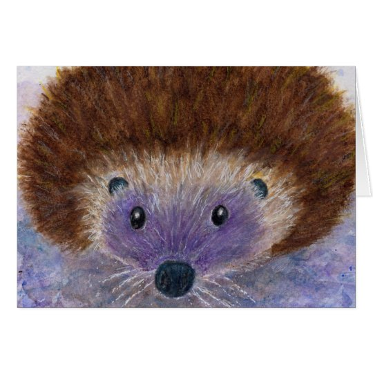 Lovely Hedgehog watercolour greetings art card