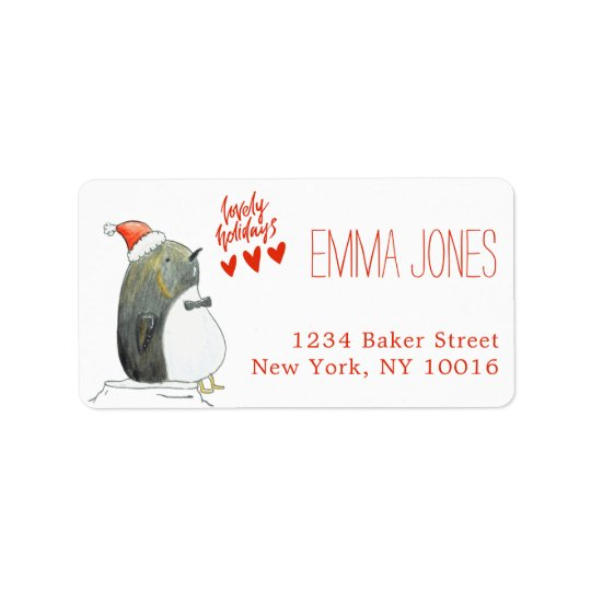 Lovely Holidays | Cute Penguin Christmas Label