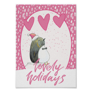 Lovely Holidays | Cute Penguin Christmas Poster