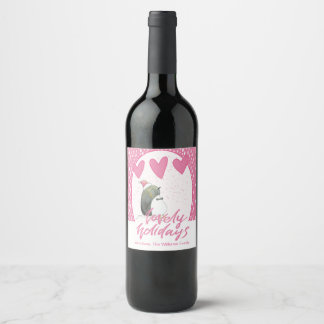 Lovely Holidays | Cute Penguin Christmas Wine Label