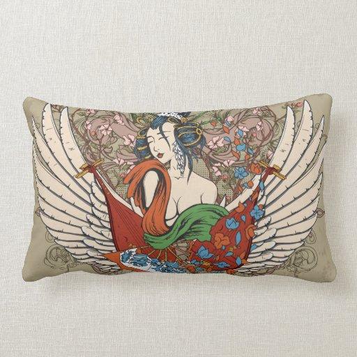 lovely japanese geisha girl angel vector art pillows