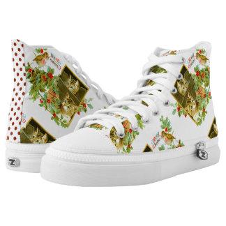 Lovely Kitties and Robin   Cute Vintage Christmas High Tops