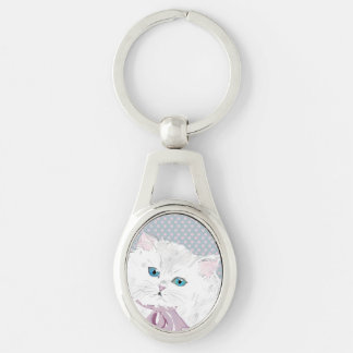 lovely kitty Silver-Colored oval key ring