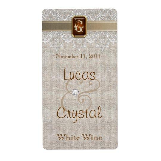 Lovely Lace & Burlap Chic Wedding Wine Label