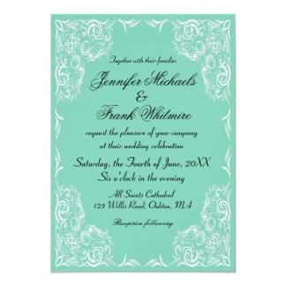 Lovely Lace Frame Aqua Wedding 13 Cm X 18 Cm Invitation Card