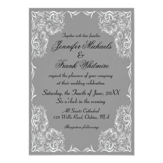 Lovely Lace Frame Gray Wedding 13 Cm X 18 Cm Invitation Card