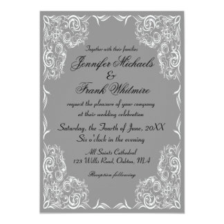Lovely Lace Frame Gray Wedding 13 Cm X 18 Cm Invitation Card