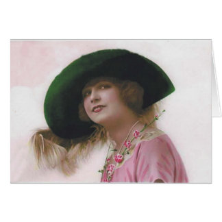 Lovely Lady Big Green Hat Greeting Card