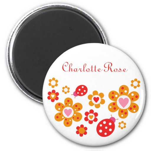 Lovely Ladybird Flowers Magnet (Round)