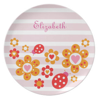 Lovely Ladybird Flowers Plate