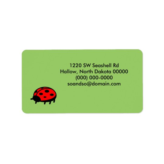Lovely Ladybug Green Address Label