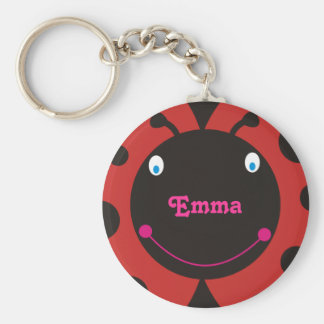 Lovely Ladybug Personalized Name Keyrings Basic Round Button Key Ring
