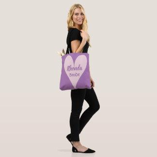 Lovely Lavender Bride Pink Heart Tote Bag