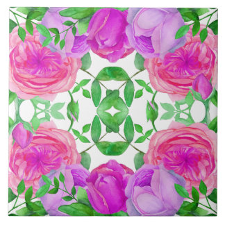 Lovely Lavender Roses Watercolor Floral Pattern Tile