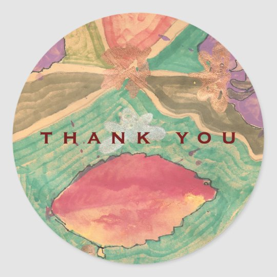 Lovely leaves thank you sticker