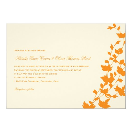 Lovely Leaves Wedding Invitation - Orange
