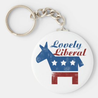 Lovely Liberal Basic Round Button Key Ring