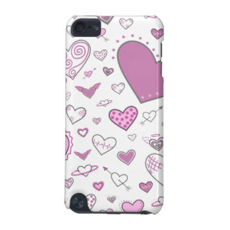 Lovely Light Pink & Purple Heart Doodles iPod Touch 5G Covers