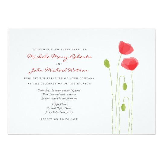 Lovely Light Poppies Modern Wedding Invitation