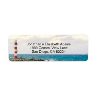 Lovely Lighthouse Ocean Beach Return Address Label