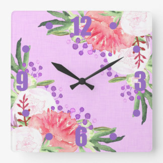 Lovely Lilac and Pink Peony Flowers Square Wall Clock