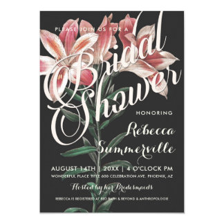 Lovely Lily Botanical Bridal Shower Invitations