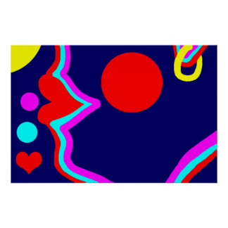 Lovely lips face bold red,turquoise,lilac & yellow poster
