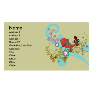 lovely little bird in a tree vector business card template