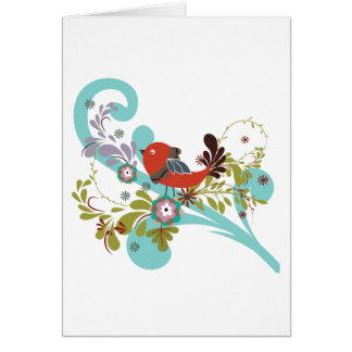 lovely little bird in a tree vector greeting card