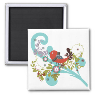 lovely little bird in a tree vector square magnet