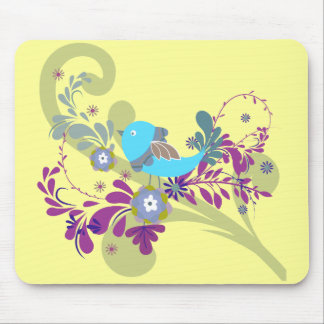 lovely little blue bird vector mouse pad