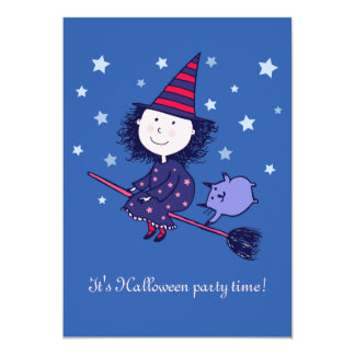 Lovely Little Witch Halloween Party Invitation