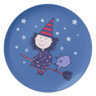 Lovely Little Witch Halloween Plate