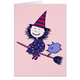 Lovely Little Witch Pink Halloween Card