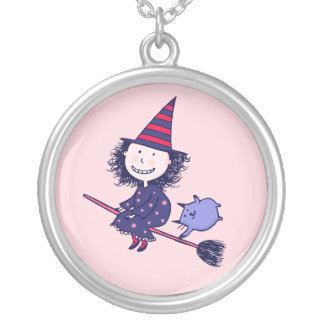 Lovely Little Witch Pink Halloween Necklace