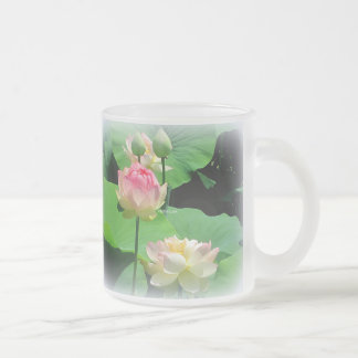 Lovely Lotus Flower & Bud Frosted Glass Frosted Glass Mug