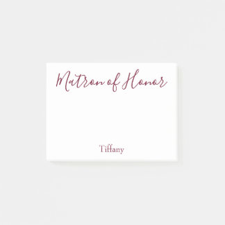 Lovely Matron of Honor White and Burgundy Post-it Notes