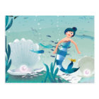 Lovely Mermaids in the Sea illustration Postcard