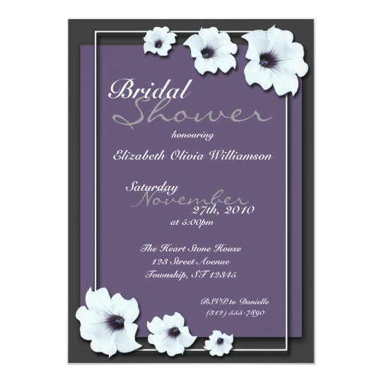 Lovely Midnight Flowers ~ Bridal Shower invitation
