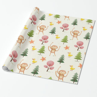Lovely Monkey Yellow duck and trees and trees Wrapping Paper