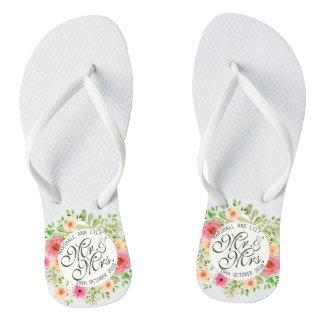 Lovely Mr. and Mrs. Floral Wedding Flip Flops