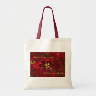 Lovely Neighbor Christmas Poinsettia Gift Budget Tote Bag