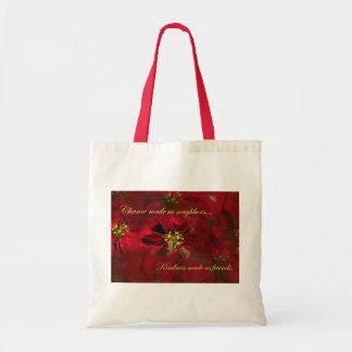 Lovely Neighbor Christmas Poinsettia Gift Budget Tote Bag