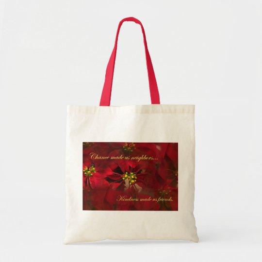 Lovely Neighbour Christmas Poinsettia Gift Tote Bag