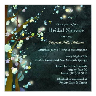 Lovely Night Elf Forest Bridal Shower Invitations