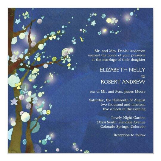 Lovely Night in Blue Tree Theme Wedding Card