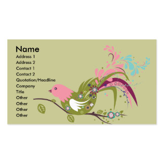 lovely olive tree bird vector business card template
