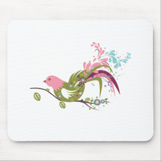 lovely olive tree bird vector mouse pad